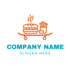 Hot Orange Hamburger and Chip logo design
