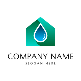 House and Water Drop logo design