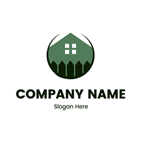 House Roof Fence Backyard logo design