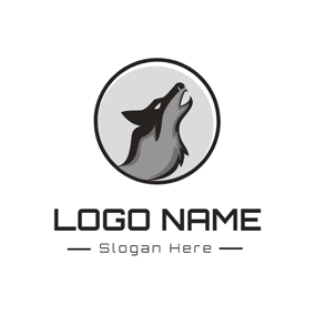 Howling Wolf Head Icon logo design