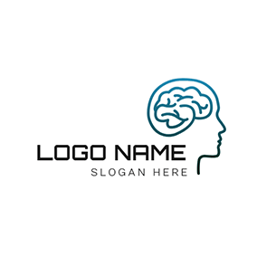Human Brain and Ai logo design