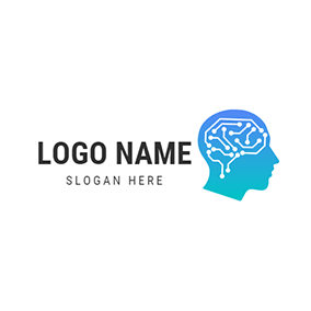 Human Brain Structure and Ai logo design