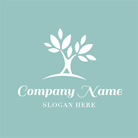 Human Character and White Leaf logo design