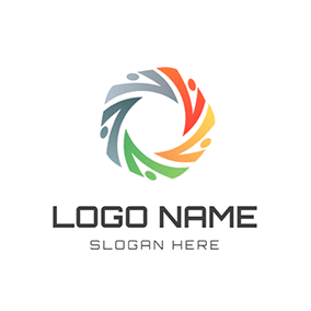 Human Color Circle Community Spiral logo design