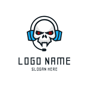 Human Skeleton and Headset logo design