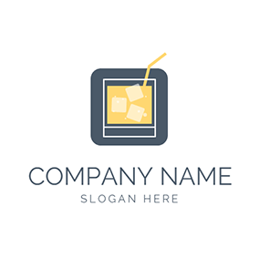 Ice Cube and Yellow Cocktail logo design