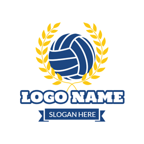 Indigo Volleyball Badge logo design