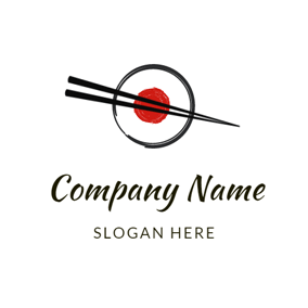 Japanese Sushi and Chopsticks logo design