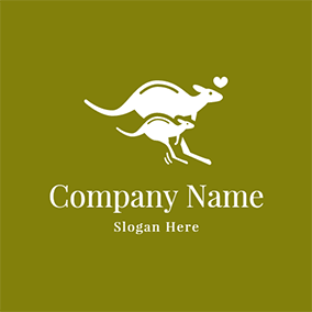 Jumping Kangaroo Mother and Baby logo design