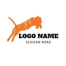 Jumping Orange Tiger logo design
