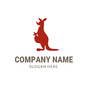 Kangaroo Baby and Mother logo design