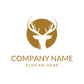 Khaki and White Deer Head Icon logo design