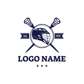 Lacrosse Helmet and Lacrosse Stick logo design