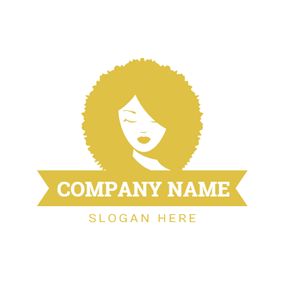 Lady and Yellow Fluffy Curly Hair logo design