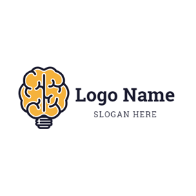 Lamp Bulb and Brain logo design