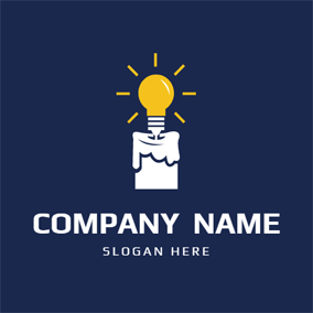 Lamp Bulb and Candle logo design