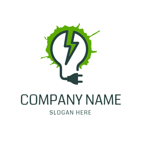 Lamp Bulb and Lightning logo design