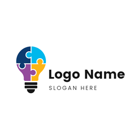 Lamp Bulb and Puzzle logo design