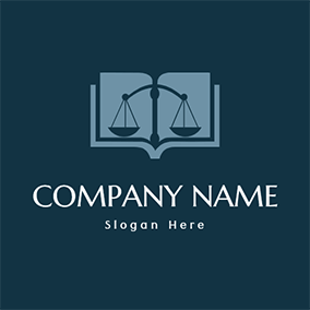 Law Book Balance and Lawyer logo design