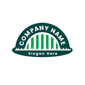 Lawn Semicircle Fence Backyard logo design