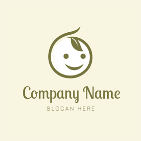 Leaf and Baby Head logo design