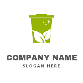 Leaf and Clean Trash Bin logo design