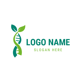 Leaf and Dna Structure logo design