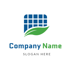 Leaf and Solar Panel Icon logo design