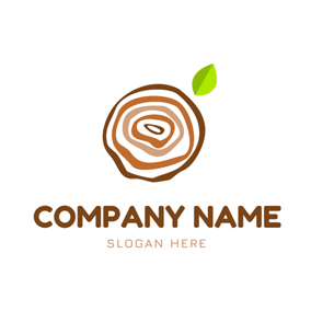 Leaf and Texture Wood logo design