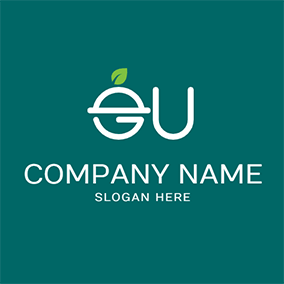 Leaf Bell and Letter E U logo design