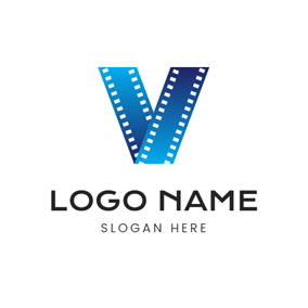 Letter V and Film logo design