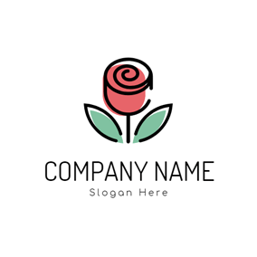 Lifelike Beautiful Green Leaf and Pink Rose logo design
