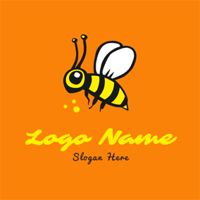 Lifelike Fly Bee Icon logo design