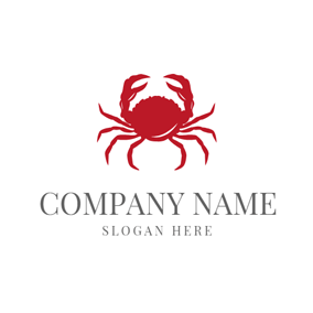 Lifelike Red Crab Icon logo design