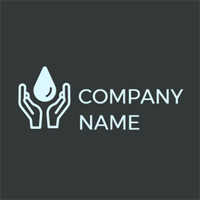 Light Blue Hand and Drop logo design