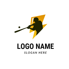 Lightning and Baseball Player logo design