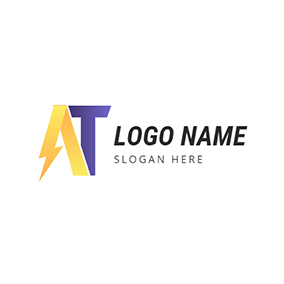Lightning Ribbon Letter A and T logo design