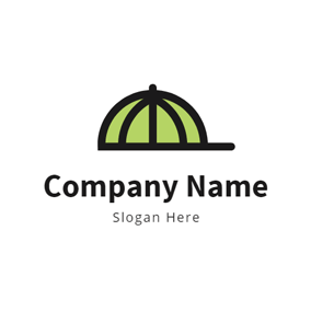 Likable Green Hat Outline logo design