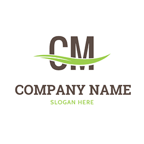 Line Decoration and Letter C M logo design