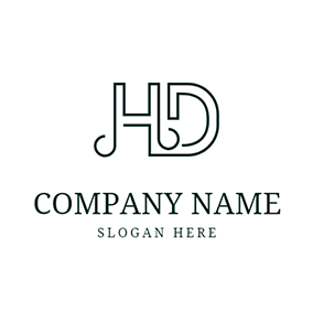 Line Simple Letter H D logo design