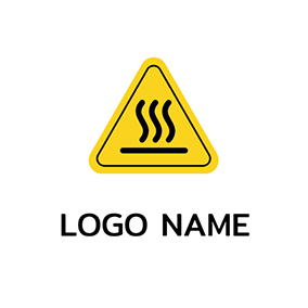 Line Triangle Boiling Warning logo design