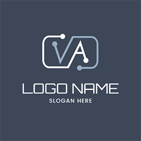 Link Rectangle and V A logo design