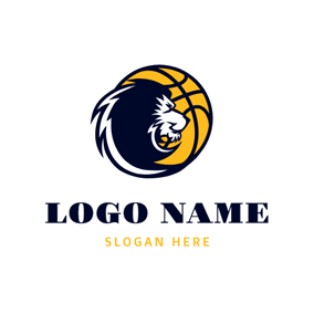 Lion Head and Basketball logo design