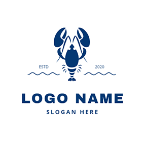 Lobster and Water logo design