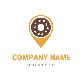 Location and Chocolate Doughnut logo design