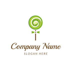 Lollipop and Kiwi Slice logo design
