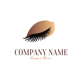 Long Black Eyelash and Brown Eye Shadow logo design