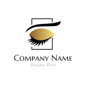 Long Eyelash and Golden Eye Shadow logo design