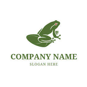 Lotus Leaf and Frog logo design
