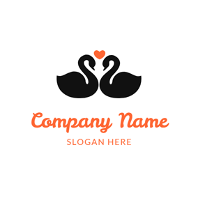 Love and Couple Swan logo design
